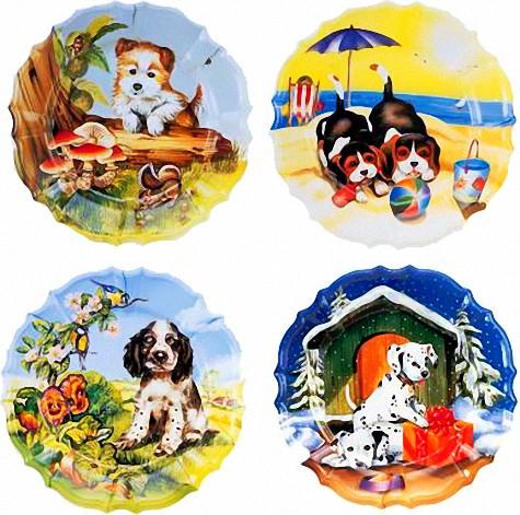 Wandteller Hunde 4 Jahreszeiten